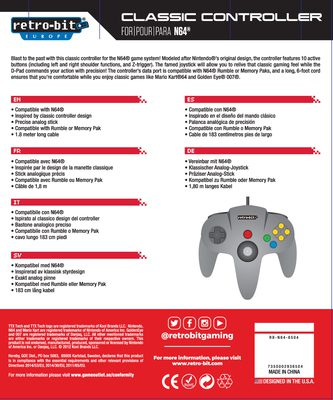 Retro-Bit Classic Controller For N64 (Grey)